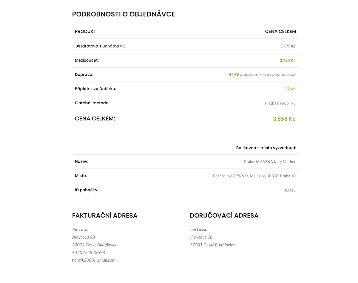 ceska-posta-balikovna-woocommerce-objednavka